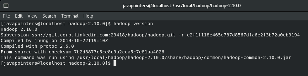 check Hadoop version